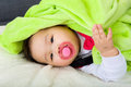 Baby sleeping with pacifier asia Stock Image
