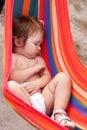 Baby sleeping sling as hammock Royalty Free Stock Photo