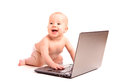 Baby small child laptop computer isolated white background Stock Photo
