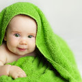 Baby small smiling after bath Stock Photo