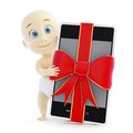 Baby smart phone gift Royalty Free Stock Photo
