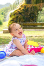 Baby smile picnic family backtround Royalty Free Stock Photo
