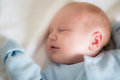 Baby smile while sleeping Royalty Free Stock Photo