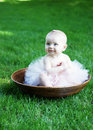 Baby Smiling in Bowl - vertical Stock Images