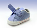 Baby sneaker open velcro strap isolated clipping path included Stock Photos