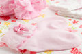 Baby socks and newborn hat pink Royalty Free Stock Photos