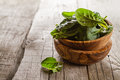 Baby spinach leaves in bowl Royalty Free Stock Photo