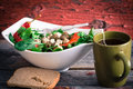Baby spinach, tomato and feta salad with tea Stock Photography