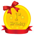 Baby 1st Birthday Gold Medal with Red Ribbon Vector Illustration Royalty Free Stock Photo