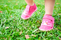 Baby steps on grass Royalty Free Stock Photo