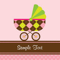 Baby Stroller Card Royalty Free Stock Photography