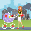 Baby stroller illustration of a woman pushing her in a on a sidewalk passing homes in the city Stock Photo