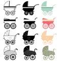 Baby stroller pram a vector illustration of Stock Images