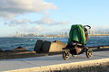 Baby stroller standing at the cape at the background surfers paradise qld australia Stock Image