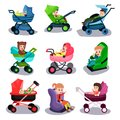 Baby strollers and car seats set, safety transporting of small children Royalty Free Stock Photo