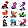 Baby strollers and car seats set, safety transporting of small kids cartoon vector illustrations Royalty Free Stock Photo