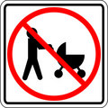 Baby strollers prohibited vector sign Royalty Free Stock Photo
