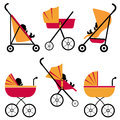 Baby strollers set Royalty Free Stock Photography
