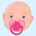 Baby sucking a pacifier doodle illustration of the face of newboen rubber or silicone or comforter to chew on during teething Royalty Free Stock Image
