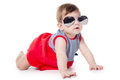 Baby with sunglasses isolated on white background Royalty Free Stock Photo