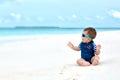 Baby in swimwear having vacation Royalty Free Stock Image