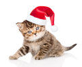 Baby tabby kitten in christmas hat looking at camera.  isolated on white Royalty Free Stock Photo