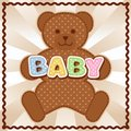 Baby teddy bear polka dot block letters pastel background rick rack frame for albums scrapbooks announcements crafts Royalty Free Stock Images
