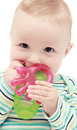 Baby with teether beautiful isolated Royalty Free Stock Image