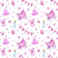Baby things seamless pattern.Newborn girl attributes.