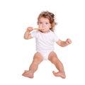 Baby toddler brushing teeth. Royalty Free Stock Photo