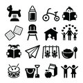 Baby or toddler in nursery or day care icons set Royalty Free Stock Photo