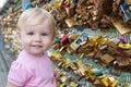 Baby touches the locks on Paris bridge Royalty Free Stock Photo