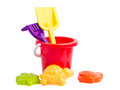Baby toy bucket and shovel rake Royalty Free Stock Photo