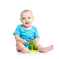 Baby with toy pretty color educational Royalty Free Stock Photography