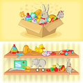 Baby toys banner set horizontal, cartoon style