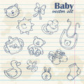 Baby toys cute cartoon set notepaper grunge paper sheet background Stock Images