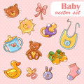 Baby toys cute cartoon set polka dot background Stock Image