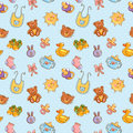 Baby toys cute cartoon set polka dot seamless pattern Royalty Free Stock Image