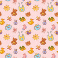 Baby toys cute cartoon set polka dot seamless pattern Stock Photos