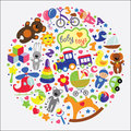 Baby toys icons set collection a of cute items of for a small child cartoon for little girl and boys of children s rattle nipple Royalty Free Stock Photo
