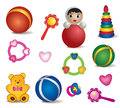 Baby toys isolated vector set of toy icon accessories and for the child icons Royalty Free Stock Image