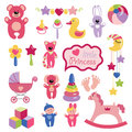 Baby toys set collection for little girl a of cute items of a small child cartoon icons littie vector illustration Royalty Free Stock Images