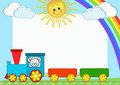 Baby train. Children photo framework. Royalty Free Stock Photos