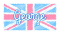 Baby uk flag union jack with pastel color with george Royalty Free Stock Image