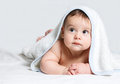 Baby under white towel Royalty Free Stock Photo