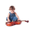 Baby and violin isolated on white choosing future profession Stock Image