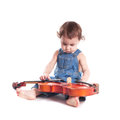 Baby and violin isolated on white choosing future profession Stock Photography