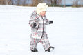 Baby walking in winter happy age of year Royalty Free Stock Images