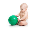 Baby weared diaper with ball girl Royalty Free Stock Images