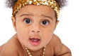 Baby Wearing Gold Headband and Necklace Royalty Free Stock Photos